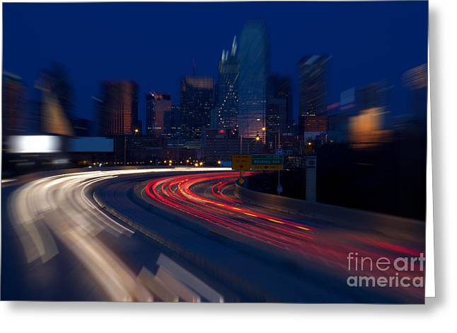 Metroplex Office Greeting Cards - Dallas Texas at night blur Greeting Card by Anthony Totah