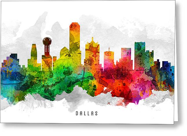 Dallas Digital Greeting Cards - Dallas Texas Cityscape 12 Greeting Card by Aged Pixel
