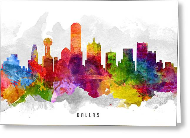 Dallas Texas Greeting Cards - Dallas Texas Cityscape 13 Greeting Card by Aged Pixel