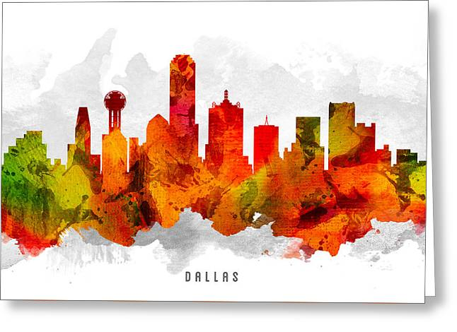 Dallas Texas Greeting Cards - Dallas Texas Cityscape 15 Greeting Card by Aged Pixel