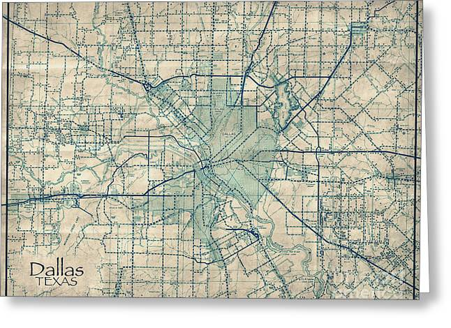 Ft Worth Greeting Cards - Dallas Texas Vintage Antique City Map Greeting Card by ELITE IMAGE photography By Chad McDermott