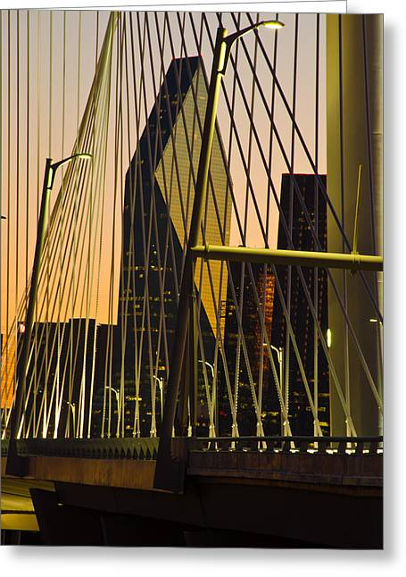 Signature Photographs Greeting Cards - Dallas Through Bridge Greeting Card by David Clanton