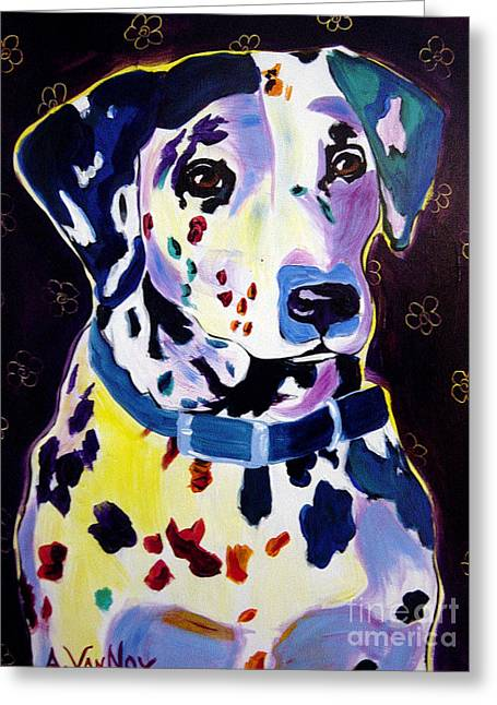 Dawgart Greeting Cards - Dalmatian - Dottie Greeting Card by Alicia VanNoy Call