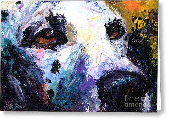 Textured Drawings Greeting Cards - Dalmatian Dog Painting Greeting Card by Svetlana Novikova