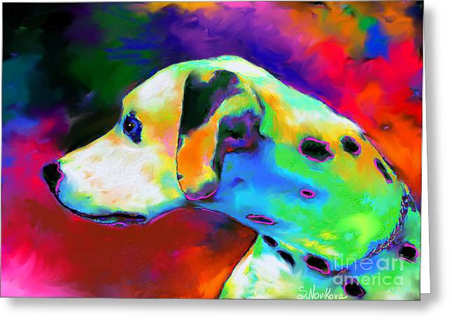 Pet Portraits Digital Art Greeting Cards - Dalmatian Dog Portrait Greeting Card by Svetlana Novikova