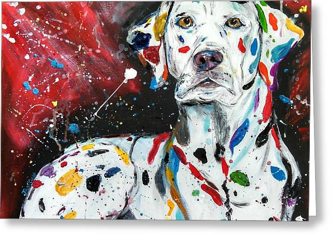 Damnation Greeting Cards - Dalmatian Greeting Card by Jessica  Barrier