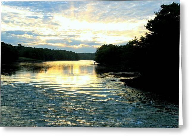 Maine Landscape Greeting Cards - Damariscotta River Sunrise Greeting Card by Laurie Breton