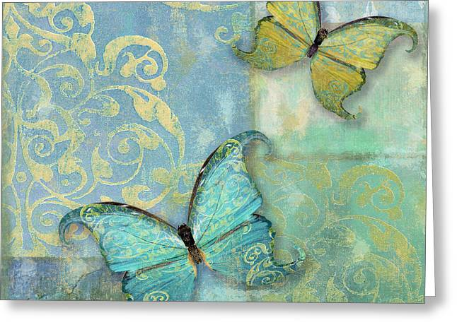Damask Greeting Cards - Damask and Butterflies I Greeting Card by Mindy Sommers