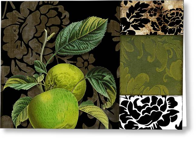 Dining Room Art Greeting Cards - Damask Lerain Granny Apples Greeting Card by Mindy Sommers