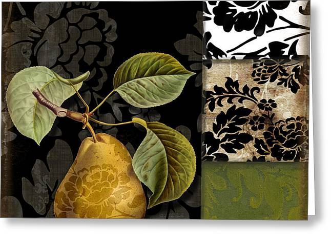 Pear Art Greeting Cards - Damask Lerain Greeting Card by Mindy Sommers