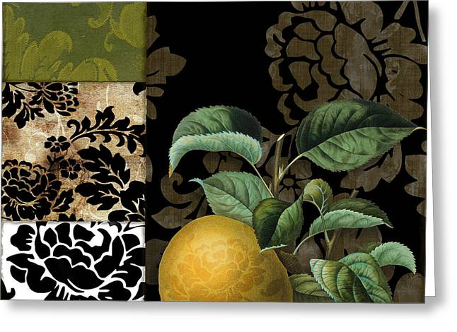 Pear Art Greeting Cards - Damask Lerain Pear Greeting Card by Mindy Sommers
