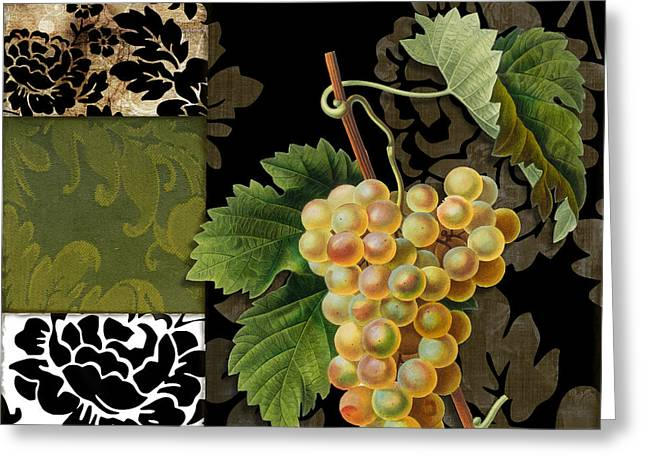 Fruit And Wine Greeting Cards - Damask Lerain Wine Grapes Greeting Card by Mindy Sommers