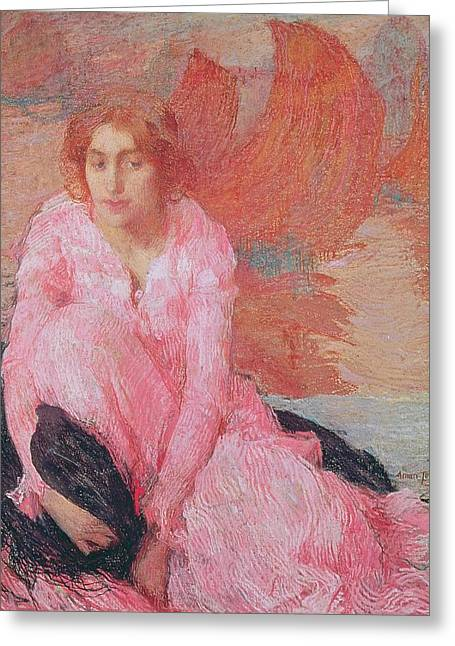 Dame En Rose Greeting Card by Edmond Francois Aman Jean