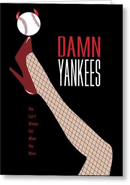 Baseball Shirt Greeting Cards - Damn Yankees Tee Shirt Greeting Card by Ron Regalado