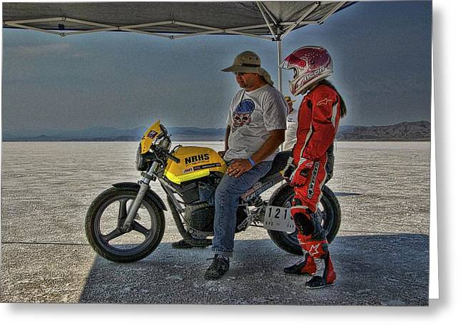 Salt Flats Racer Greeting Cards - Dan and Lucille Greeting Card by Nick Roberts