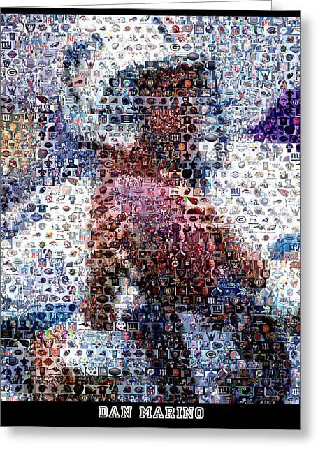Dan Marino Mosaic Greeting Card by Paul Van Scott