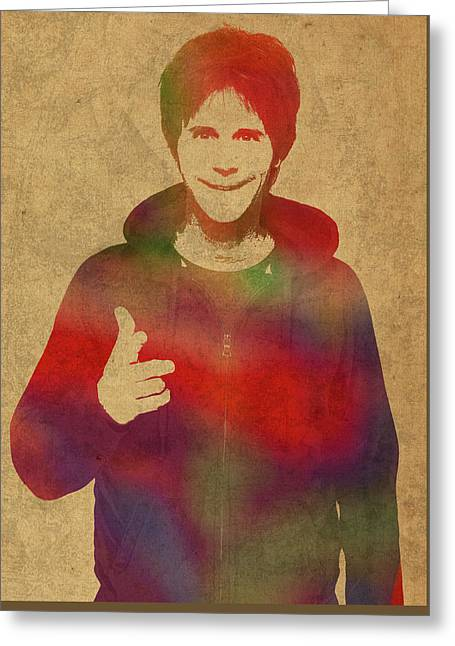 Dana Carvey Comedian Actor Watercolor Portrait On Canvas Greeting Card by Design Turnpike