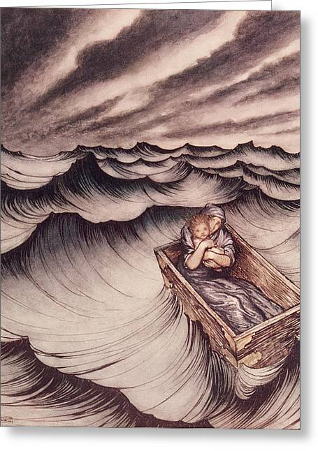 Chest Greeting Cards - Danae and her son Perseus put in a chest and cast into the sea Greeting Card by Arthur Rackham
