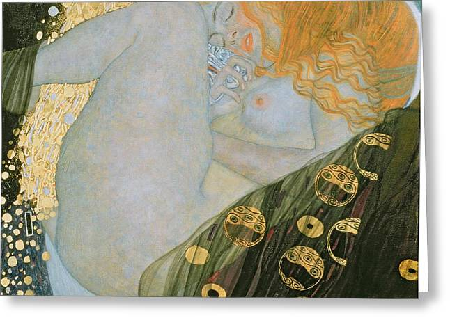 Expressionist Girl Greeting Cards - Danae Greeting Card by Gustav Klimt
