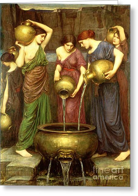 Breast Paintings Greeting Cards - Danaides Greeting Card by John William Waterhouse