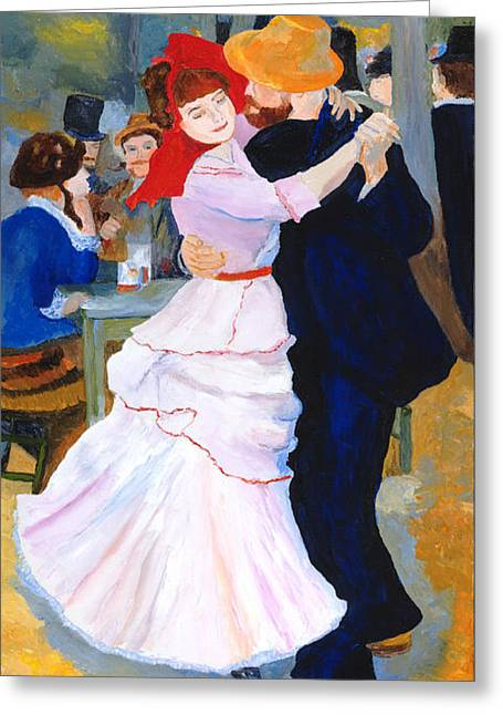 Greeting Card featuring the painting Dance At Bougival After Renoir by Rodney Campbell