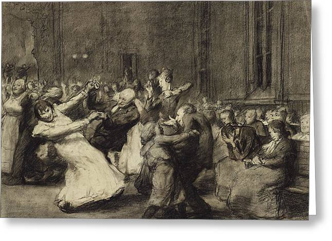 Dance At Insane Asylum Greeting Card by George Wesley Bellows