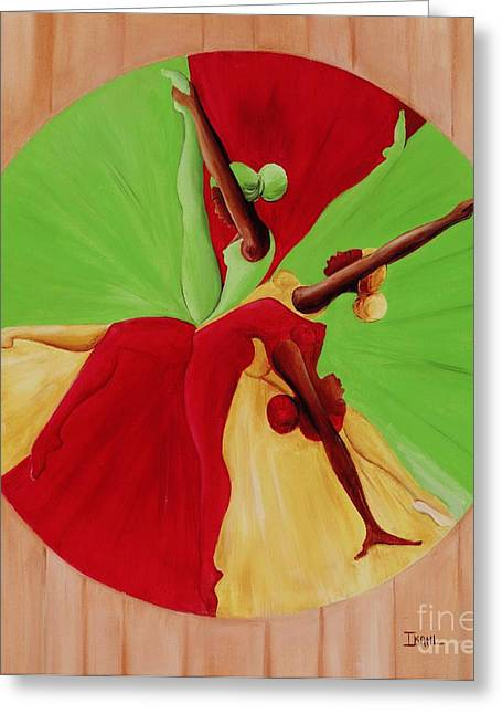 Outstretched Arm Paintings Greeting Cards - Dance Circle Greeting Card by Ikahl Beckford