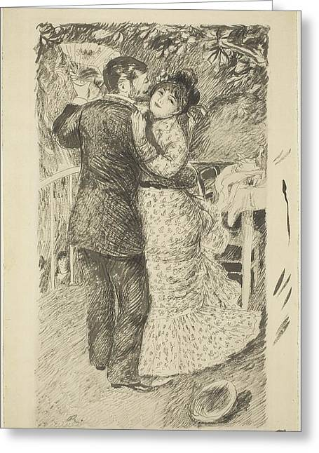 Famous ist Drawings Greeting Cards - Dance In The Country Greeting Card by Auguste Renoir