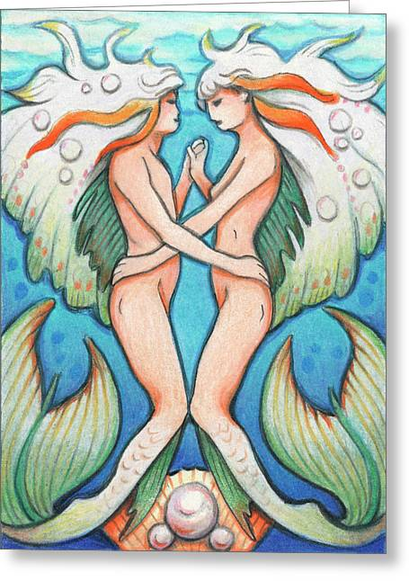 Pearls Drawings Greeting Cards - Dance In The Depths Greeting Card by Amy S Turner