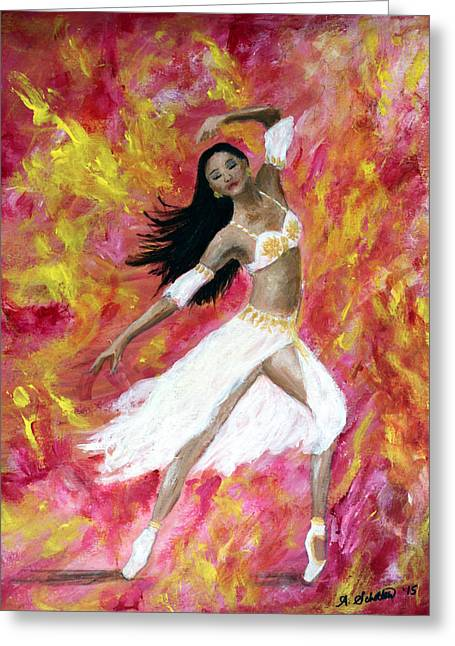 Ballet Dancers Greeting Cards - Dance Into the Fire Greeting Card by Amy Scholten