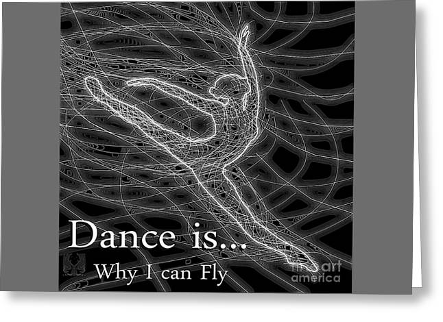 Ballet Dancers Drawings Greeting Cards - dance is why I can fly Greeting Card by Dale Crum