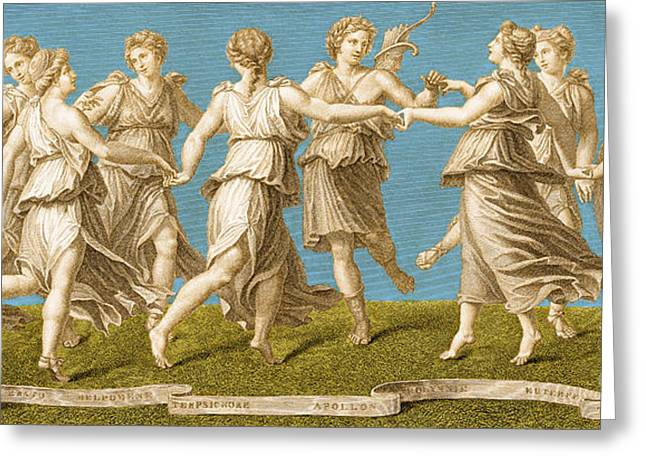 Colorization Greeting Cards - Dance Of Apollo With The Nine Muses Greeting Card by Photo Researchers