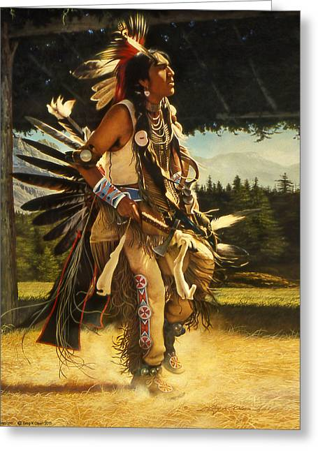Rendezvous Greeting Cards - Dance of His Fathers Greeting Card by Greg Olsen