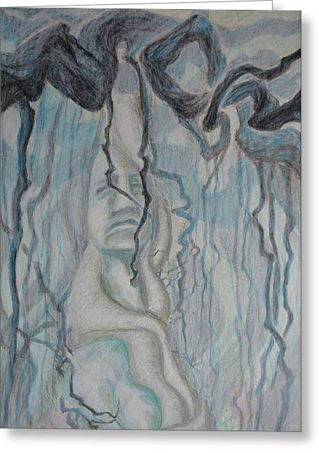 Tree Roots Drawings Greeting Cards - Dance Of Nematodes And Roots Greeting Card by Nancy Mauerman