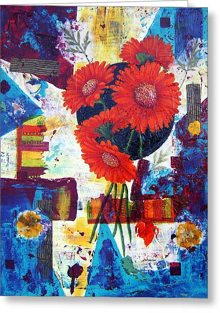 Daisies Mixed Media Greeting Cards - Dance of the Daisies Greeting Card by Terry Honstead