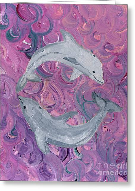 Sea Animals Greeting Cards - Dance of the Dolphins Greeting Card by Julia Stubbe