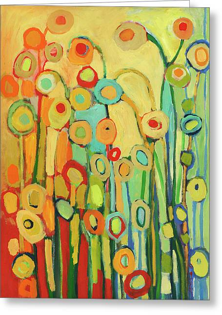 Turquoise Greeting Cards - Dance of the Flower Pods Greeting Card by Jennifer Lommers