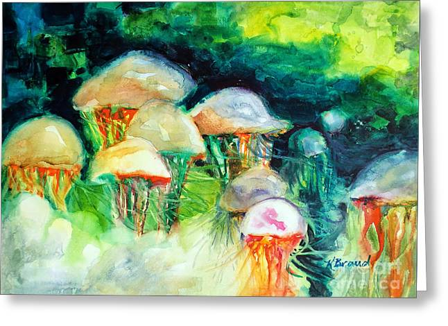 Jelly Fish Paintings Greeting Cards - Dance of the Jellyfish Greeting Card by Kathy Braud