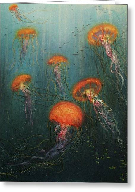 Underwater Scenes Greeting Cards - Dance of the Jellyfish Greeting Card by Tom Shropshire