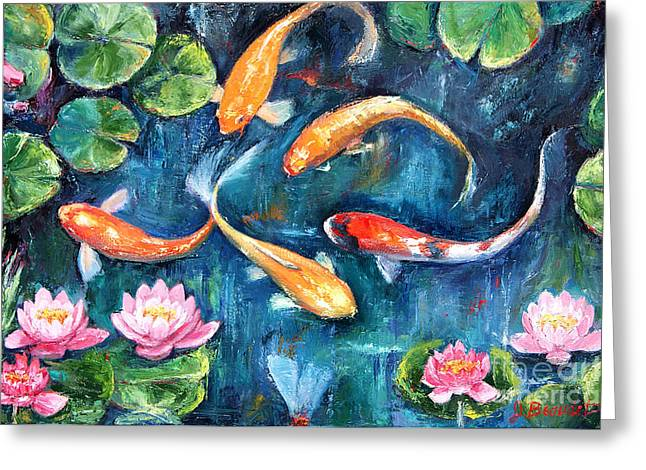 Lilly Pad Greeting Cards - Dance of the Koi Greeting Card by Jennifer Beaudet