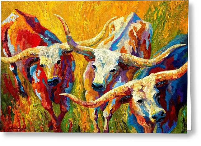 Cow Greeting Cards - Dance Of The Longhorns Greeting Card by Marion Rose