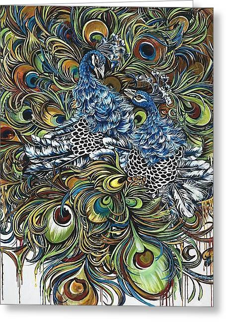 Energize Paintings Greeting Cards - Dance of the Peacocks Greeting Card by Dana Diaz de Leon