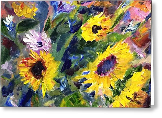 Recently Sold -  - Yellow Sunflower Greeting Cards - Dance of the Sunflowers Greeting Card by Jennifer DeWeber