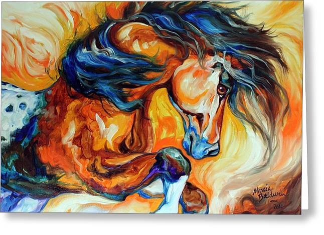 Marcia Greeting Cards - DANCE of the WILD ONE Greeting Card by Marcia Baldwin