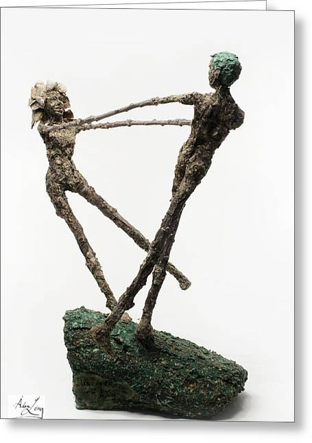 Sculpture Mixed Media Greeting Cards - Dance on a Hill Top back view Greeting Card by Adam Long