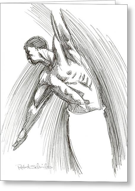 Homoerotic Drawings Greeting Cards - Dance Greeting Card by Robert Schnieders
