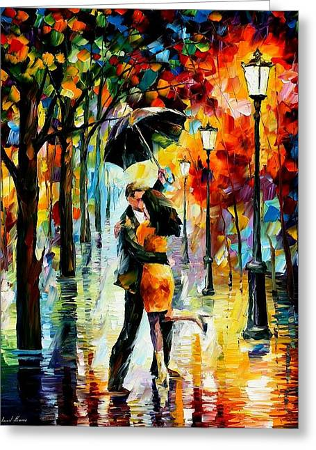 Leonid Afremov Greeting Cards - Dance Under The Rain Greeting Card by Leonid Afremov