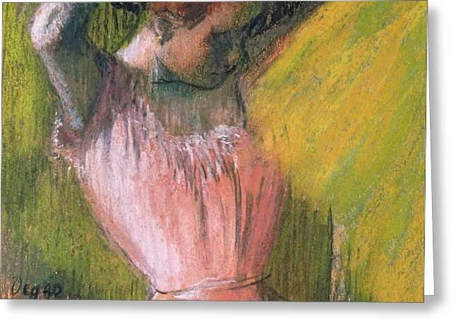 Dancer arranging her hair Greeting Card by Edgar Degas