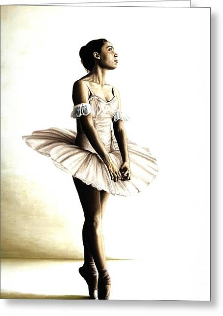 Tutus Paintings Greeting Cards - Dancer at Peace Greeting Card by Richard Young