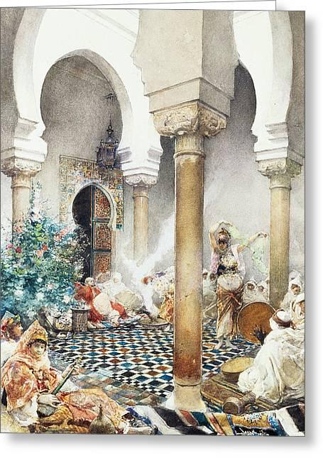 Dancer In A Harem Greeting Card by Gustavo Simoni
